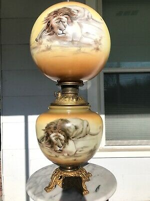 """Antique Victorian Gone with the Wind Oil Lamp Hand Painted Lions Jumbo 12"""" Rare"""