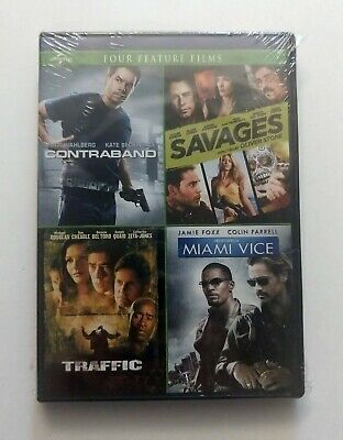 Action 4-Movie Series: Contraband/Savages/Traffic/Miami Vice (DVD, 2018) NEW