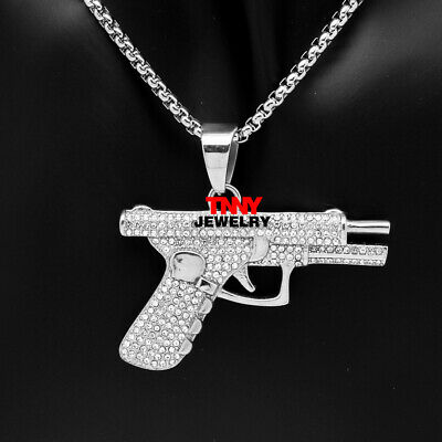"""24"""" Men Stainless Steel Hip Hop Pave Iced Out Bling Silver Gun Pendant Necklace"""