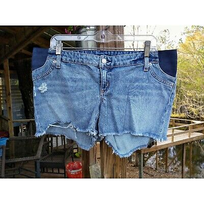 ca8abb64ed8da Gap Maternity Denim Jean Inset Panel Raw Hem Destroyed Distressed Shorts  Size 30