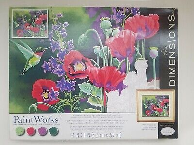 Dimensions Paintworks Hummingbird and Poppies Paint By Number 14 x 11 NEW