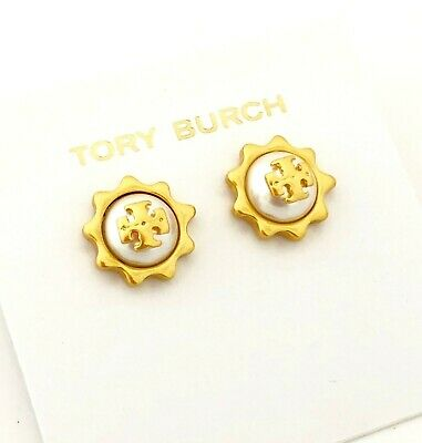b41699b78 Tory Burch Logo Pearl Sunshine Studs Earrings NEW on Card & Dust BAG
