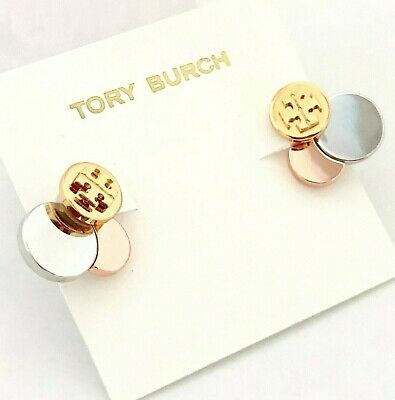 b4154c0f9 Tory Burch Polished Discs Set Behind Logo Studs Earrings NEW on Card & Dust  BAG