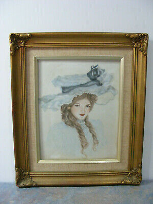 Vintage Antique Style Gold Picture Frame With Ceramic Painted Tile