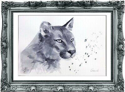 original painting puma watercolor 192LM originale art A4