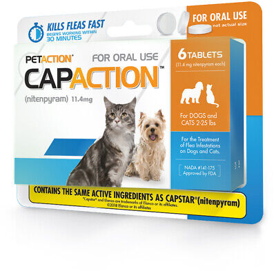 CapAction Fast Acting Flea Treatment For Cats and Small Dogs, 6 Tablets