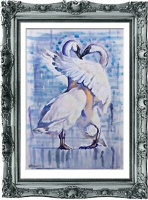original painting Swan watercolor 270UV peinture originale art A3