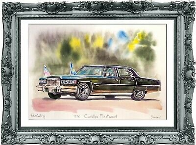 original drawing car Cadillac Fleetwood 1976 293UV art watercolor A3