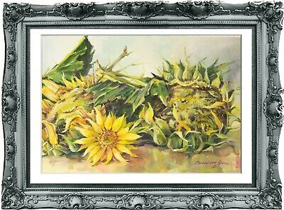 original drawing art sunflowers watercolor 126HI aquarelle dessin original A3