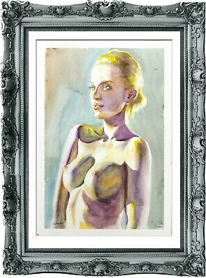 original painting naked woman 73ShA watercolor peinture femme nue A3