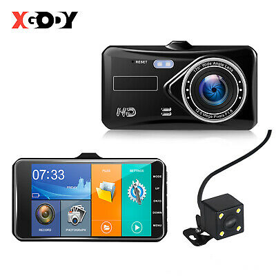 XGODY HD 1080P 4'' Touch Screen Car DVR Dual Lens Video Recorder Dashcam Camera