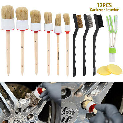 12pcs Car Detailing Brush Kit Boar Hair Vehicle Auto Interior Fr Wheel Clean Set