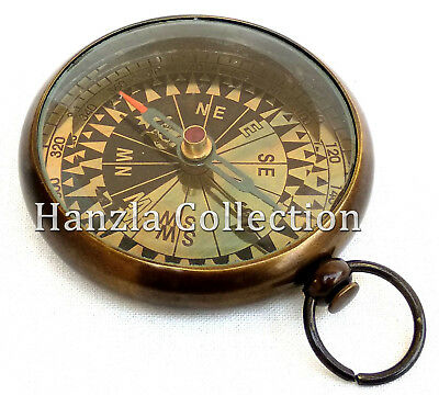 Vintage Antique Brass Pocket Watch Style Compass Nautical Maritime Pocket Gift