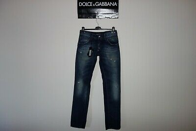 Dolce&Gabbana Black Label 14GOLD Logo Plate Faded&Distressed Blue Jeans 44 IT 31