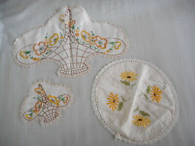Vintage Doilies - a total of 3 doilies with Yellow embroidered flowers