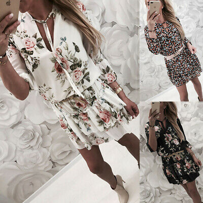Womens Summer Boho Floral Mini Dress Ladies Holiday Party Beach Sundress Sz10-18