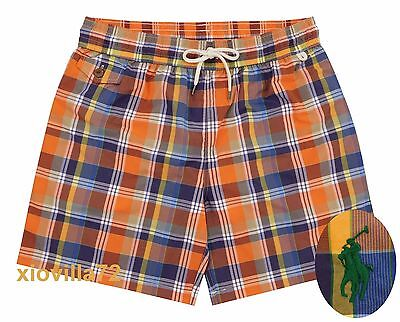 a6479a757a Men's Polo Ralph Lauren Traveler Multicolor Plaid Print Swim Trunks Board  Shorts