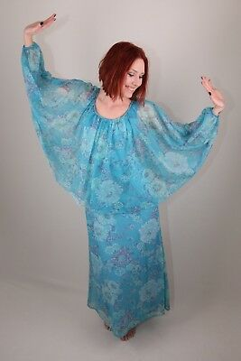 TRUE VINTAGE 1970s ANGEL SLEEVE MAXI DRESS CURRENT SIZE 8
