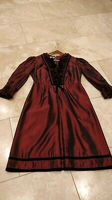 TRUE VINTAGE MAUDE JACKSON 1960s TAFFETA VELVET MIDI DRESS CURRENT SIZE 14