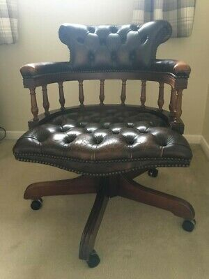 Chesterfield Captains Desk Chair Leather dark brown 60 yrs old solid wood