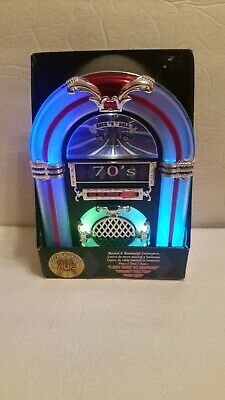 Rock And Roll 70's Music Illuminated Lighted Desktop Mantle Jukebox Centerpiece