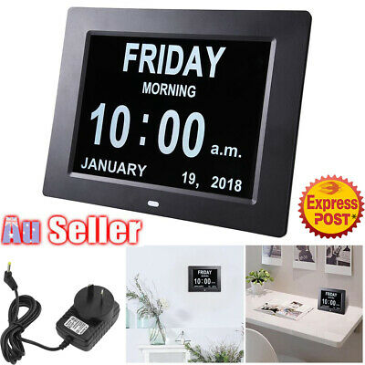 8'' LED Large Digital Calendar Day Clock Date Week Month Year Time Wall Dementia