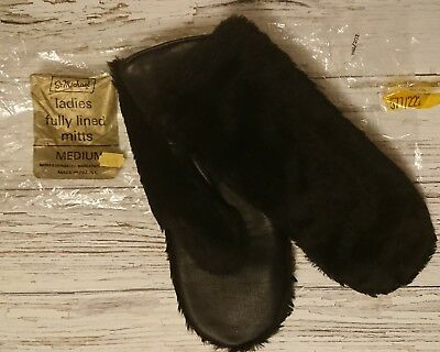 Vintage 1970's Black Faux Fur Mittens/Gloves by St Michael. Size M.