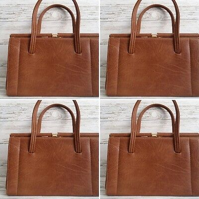 "Vintage 1960's Faux Leather Brown/Beige ""KELLY"" Day Handbag."