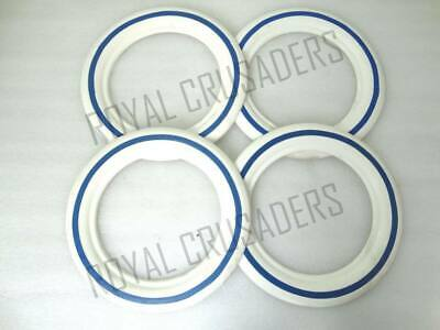 New Vespa White Walls 8'' 4 Pieces For 2 Tyres 3.50X8 Size Blue Lined @Cl