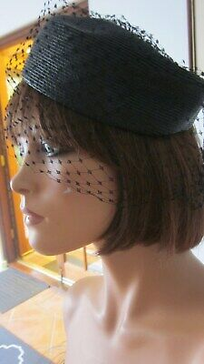 1950,s black straw pillbox with veil and original shop tag from Maxine hats NY