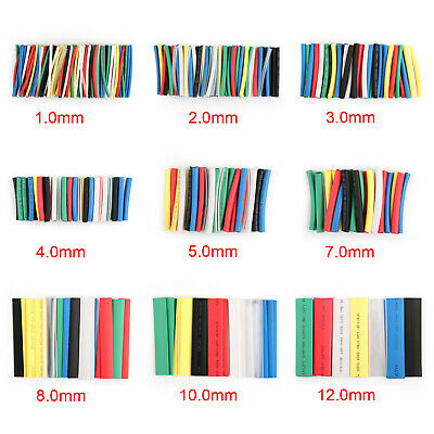 21-497Pcs 7 Colors 9 Sizes Heat Shrink Tubing 2:1 Sleeve Wrap Assortment Kit BS4