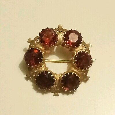 Antique Victorian 15ct Gold Garnet Brooch Scottish Thistle