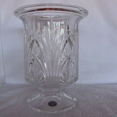 """BOHEMIA Czech Republic 24% Lead Crystal Large Footed Vase 8.25"""" Mint"""