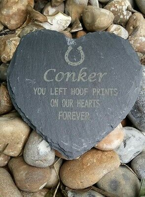 Personalised Engraved Slate Heart Pet Memorial Grave Marker Plaque Horse shoe