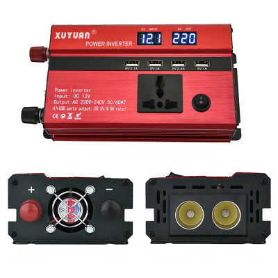 3000/4000/5000W Car Portable Power Inverter DC 12V- AC 110V Converter 4 Outlets