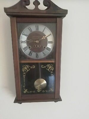 (429)Wooden Long Case Wall Clock  With Quartz Battery Movement Made By Presi