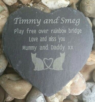 Personalised Engraved Slate Heart Pet Memorial Grave Marker Plaque two cats