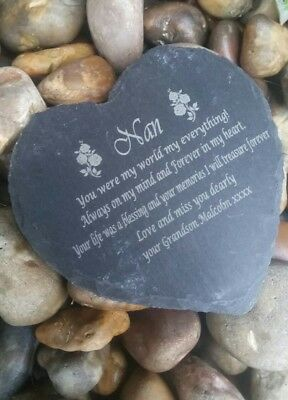Personalised Engraved Slate Stone Heart Nan Memorial Grave Marker Plaque Nan