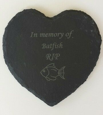 Personalised Engraved Slate Heart gold fish Pet Memorial Grave Marker Plaque