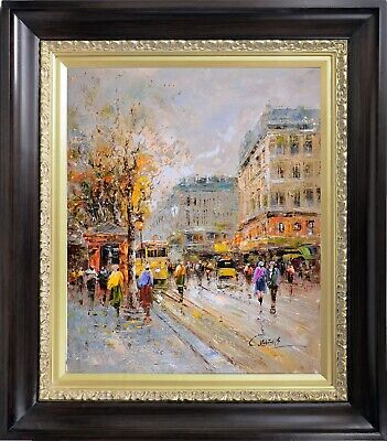 Framed Original French Painting, Signed Paris City Spring Scene, Oil on Canvas