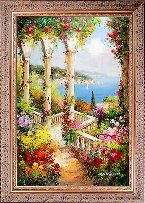 Framed Original Oil Painting On Canvas, Angelo Rossi Signed, Harbor View Terrace