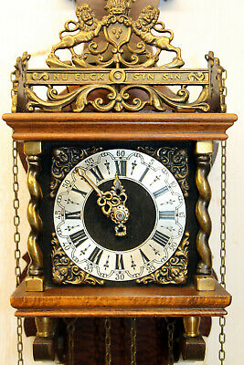 Old Wall Clock Dutch Zaanse Zaandam Warmink Wuba 8 Day Clock with two Lions