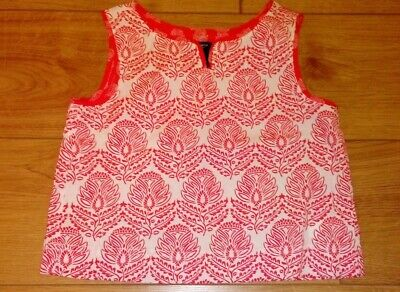 New Gap Kids Cropped Red And White Cotton Floral Top Age 8/9 Years