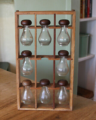 Vintage French spice rack with glass bottles VERY UNUSUAL
