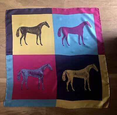 Fab Vintage JOULES Equestrian Andy Warhol Style Horse Print Large Silk Scarf