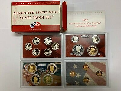 2009S US MINT SILVER PROOF SET, 18 Coins, 8 SILVER, 5 ONE DOLLAR COINS, OGP