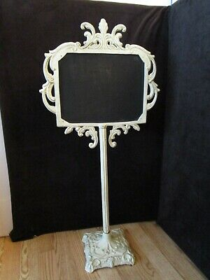 "Collectible Cast iron free standing Chalkboard messages notice stand 32 ¾"" tall"