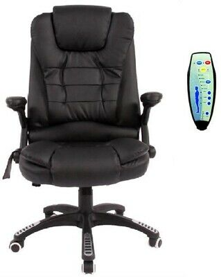Black Office Computer Chair Massage Leather Recline Wheels Swivel Remote Control