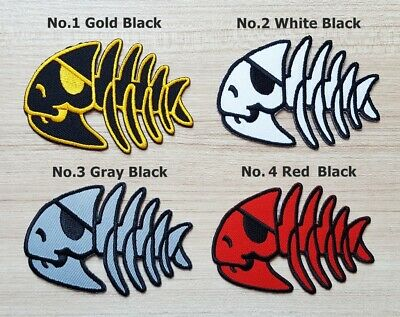 Fish Skull Pirate Bone Skeleton Punk Chopper Biker Patch Motorcycle Applique DIY