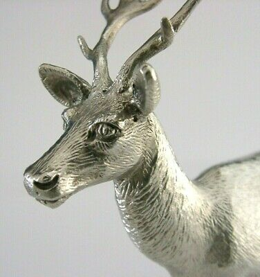 BEAUTIFUL ENGLISH SILVER PLATED DEER BUCK STAG ANIMAL FIGURE 1950s GOOD SIZE